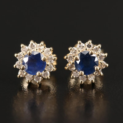 14K Sapphire Stud Earrings with Diamond Halos