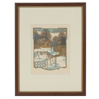"""Gustave Baumann Woodblock """"November"""" for """"All the Year Round"""", 1912"""