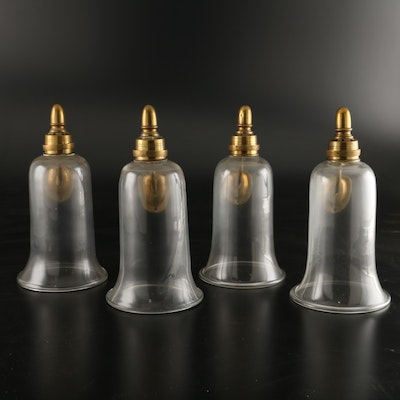 Four Brass and Glass Wall-Mounted Candle Sconces, Late 19th/Early 20th C.
