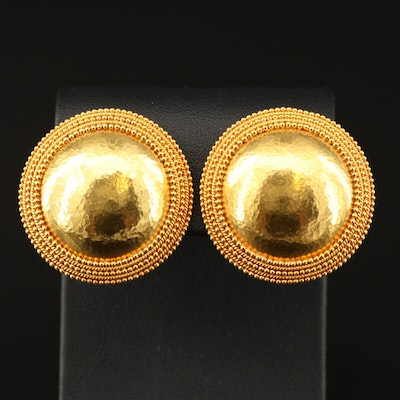Ilias Lalaounis 18K Domed Disk Clip Earrings with Hammered Finish
