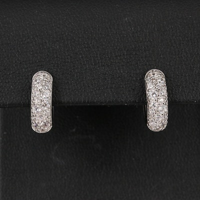 Sterling Silver Pavé Cubic Zirconia Huggie Earrings