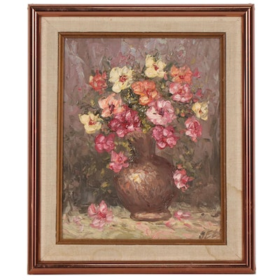 Still Life of Flowers in Vase Impasto Oil Painting, Mid to Late 20th Century