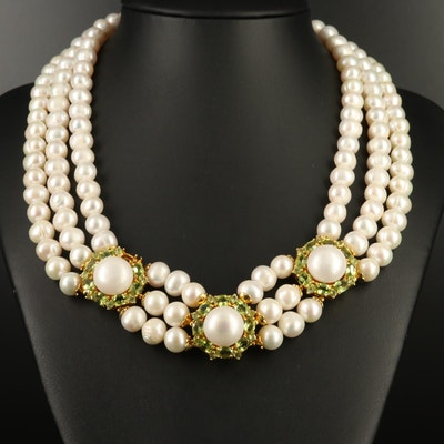 Sterling Pearl and Peridot Stationed Festoon Necklace