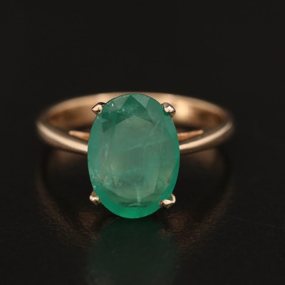 14K 1.70 CT Emerald Solitaire Ring