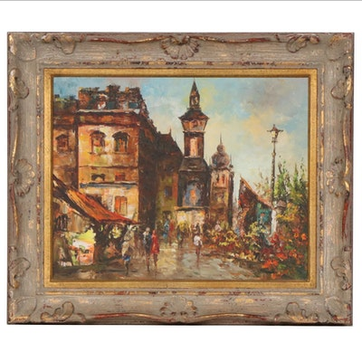 W. Vanicci European Cityscape Oil Painting, Mid to Late 20th Century