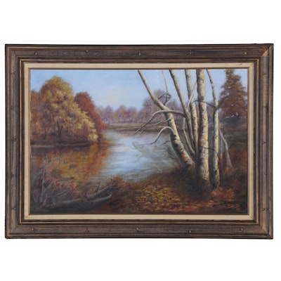 Vickey Ivey Autumn Landscape Oil Painting, 1980