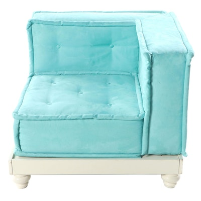 Pottery Barn Teen Teal Button Tufted Corner Chair