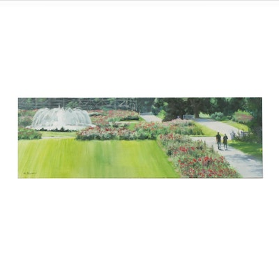 Marcus Brewer Oil Painting of the Columbus Park of Roses, 21st Century