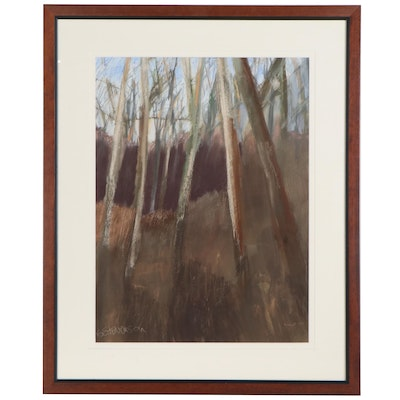 G. Stevenson Pastel and Acrylic Woodland Landscape Drawing