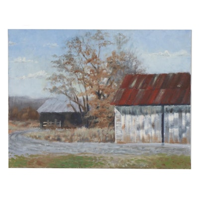Marcus Brewer Oil Painting of Autumn Country Road with Barns