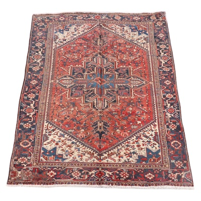 6'3 x 8'11 Hand-Knotted Persian Heriz Wool Rug