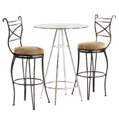 Chrome Glass Top Bar Table and Pair of Barstools