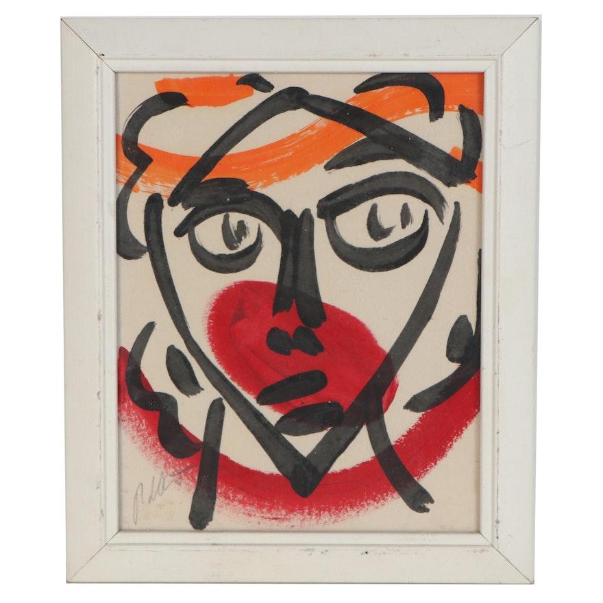 Peter Keil Portrait Acrylic Painting, Late 20th Century