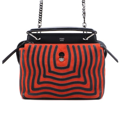 Fendi Dotcom Click PM Top Handle Bag in Red and Blue Hypnotic Suede