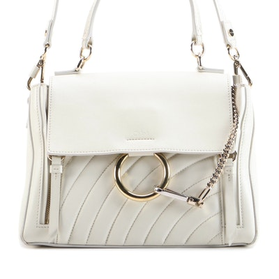 Chloé Faye Day Top Handle Bag in Off-White Quilted Calfskin
