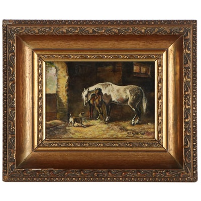 Farm Animals Genre Oil Painting after Emil Volkers, Early 20th Century