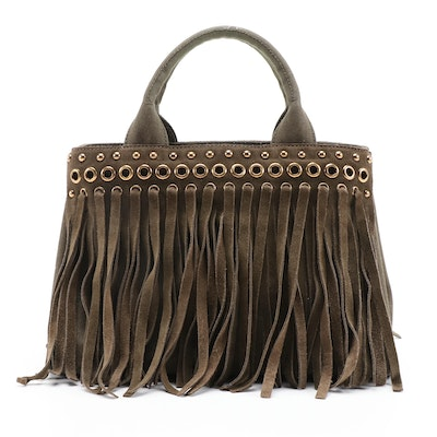 Prada Grommet Leather Fringe Handbag in Dark Olive Green Canapa Canvas