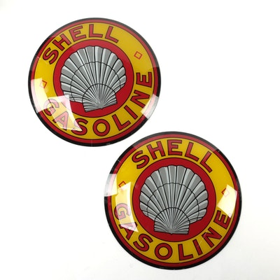 Shell Gasoline Glass Insert Pump Signs, 1991