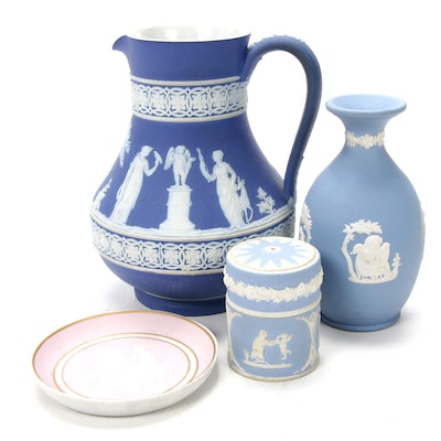19th Century Wedgwood Pitcher and Other Pieces of Jasperware Including Limoges