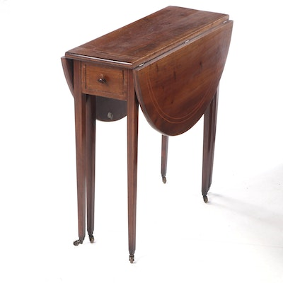 Sheraton Style Mahogany Drop Leaf Table with Satinwood Inlay, Early 20th Century