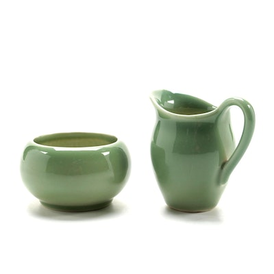Rookwood Pottery Standard Glaze Green Creamer and Open Sugar, 1949