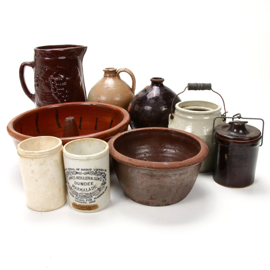 Redware Bundt Cake Mold and Other Stoneware Storage Containers