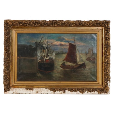 J.R. Miles Harbor Scene Oil Painting, Late 19th Century