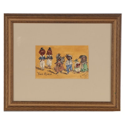 "Watercolor Painting of Anthropomorhic Dogs ""The Rich,"" 1906"