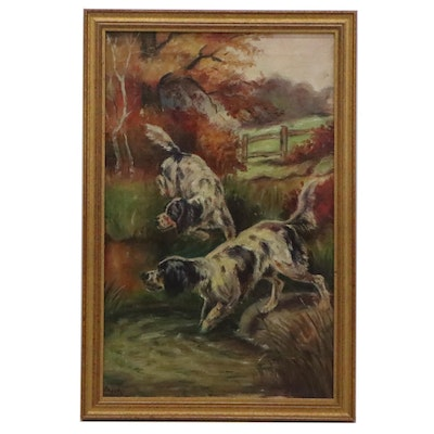 Hunting Dog Genre Oil Painting, Mid 20th Century