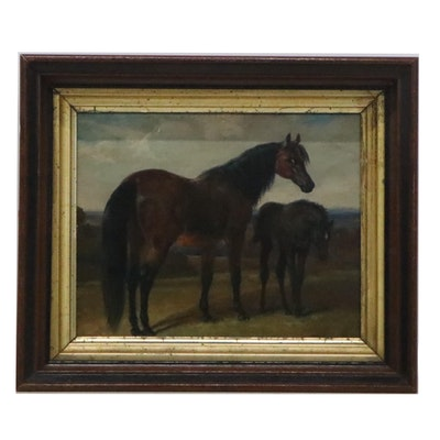Mixed Media Painting of Horse and Colt, Late 20th Century