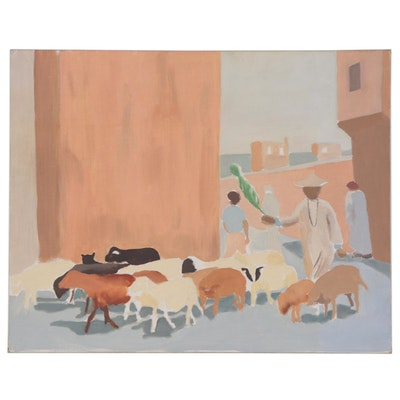 Folk Art Oil Painting of a Man Herding Goats, Late 20th Century