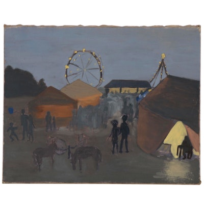 Folk Art Oil Painting of a Carnival Scene, Late 20th Century