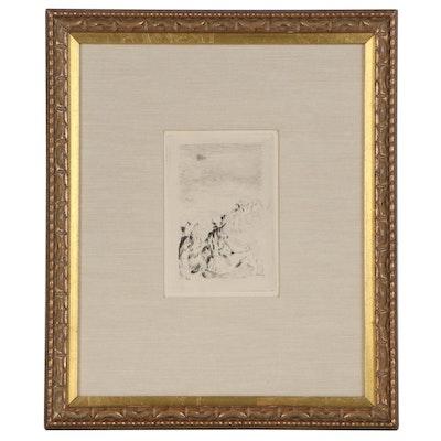"Pierre Auguste Renoir Restrike Etching ""Sur la Plage a Berneval"""