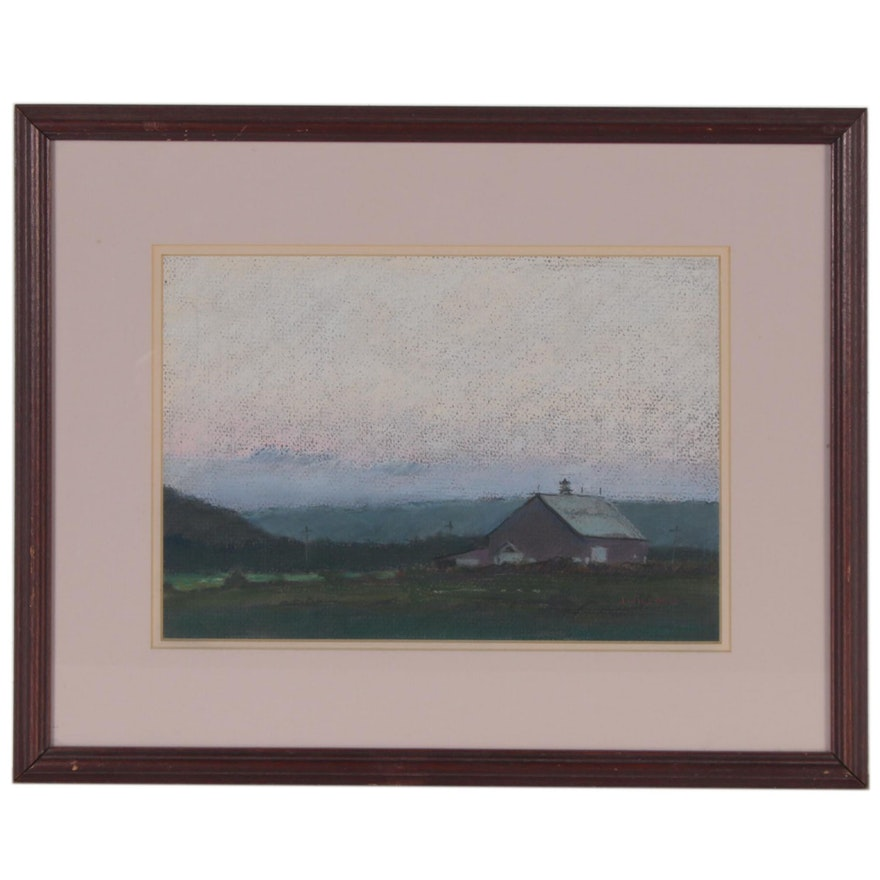 Jay Wilford Pastel Drawing of Farmhouse Landscape, Late 20th Century