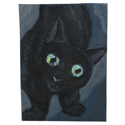 """Natalya Stern Acrylic ACEO Painting """"Pet Me Cat,"""" 2020"""