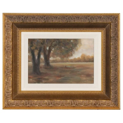 Impressionist Style Oil Painting of Autumn Trees in Field