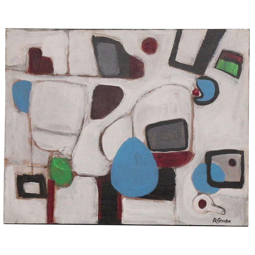 "Randy Groden Abstract Mixed Media Painting ""Coronari,"" 21st Century"