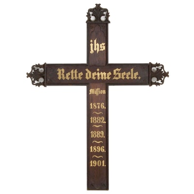 Hand-Painted German Mission Gothic Style Wooden Wall Cross