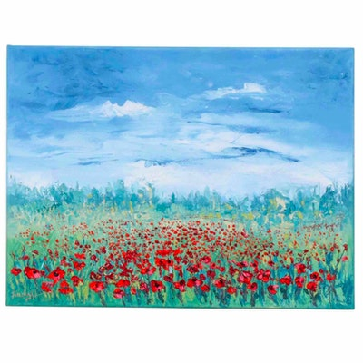Farshad Lanjani Poppy Field Oil Painting, 2020