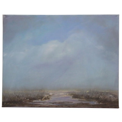 """Rebecca Manns Oil Painting """"Morning on Rush Run Marsh,"""" 2020"""