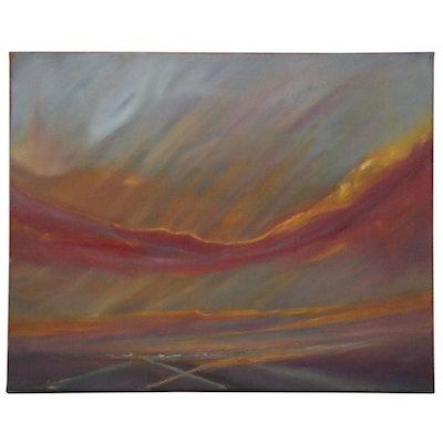 """Rebecca Manns Oil Painting """"Vegas Skies,"""" 2020"""