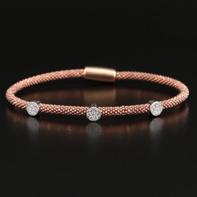 Sterling Cubic Zirconia Circular Station Bracelet