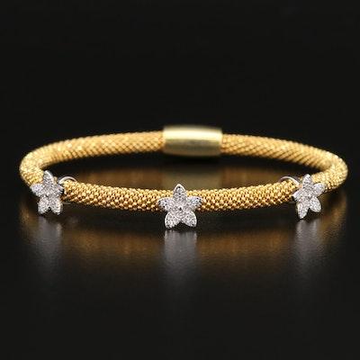 Sterling Cubic Zirconia Floral Stationary Bracelet
