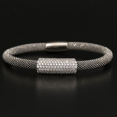 Sterling Cubic Zirconia Stationary Bracelet