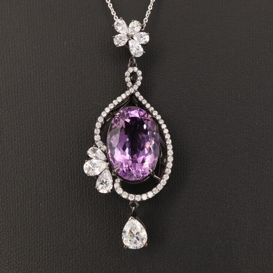 Sterling Silver Amethyst and Cubic Zirconia Drop Pendant Necklace