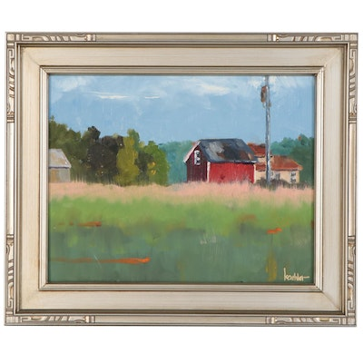 Rick Koehler Oil Painting of Farm Landscape with Barn
