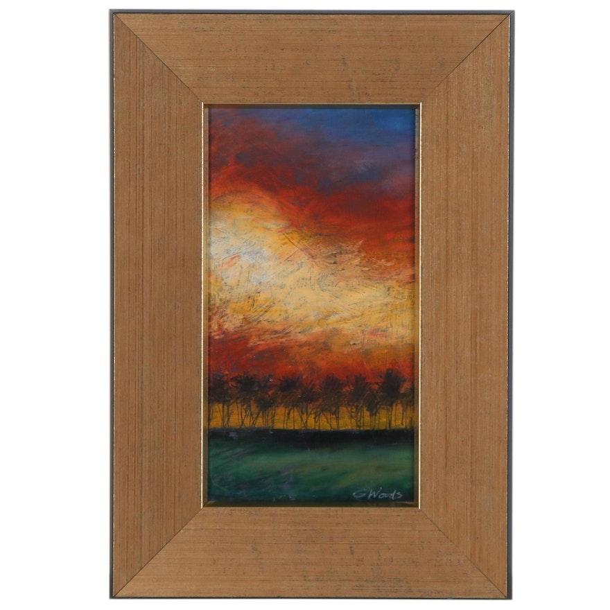 G. Woods Oil Pastel Drawing of Impressionist Landscape