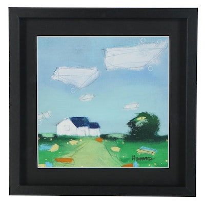 Angie Hubbard Rural Architectural Landscape Acrylic Painting, 21st Century