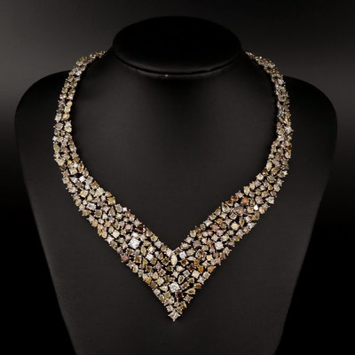 14K 54.92 CTW Diamond Bib Necklace with Fancy Yellow and Fancy Brown Diamonds