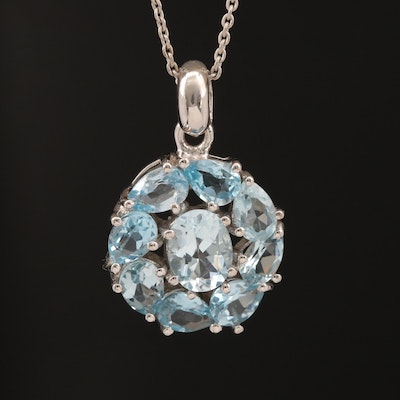Sterling Silver Topaz Cluster Pendant Necklace